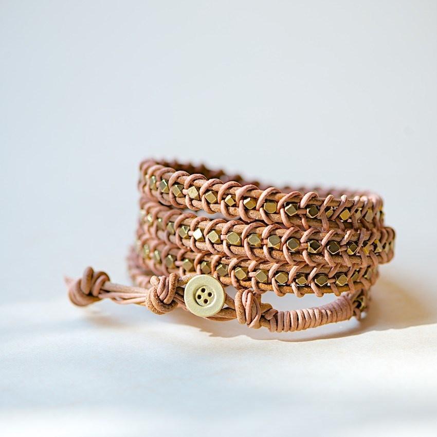 Leather wrap bracelet tutorial