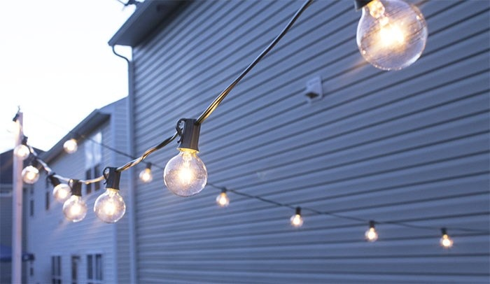 Backyard Update Hanging String Lights
