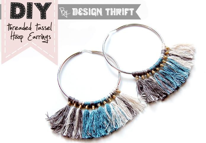 Diy: threaded tassel hoop earrings
