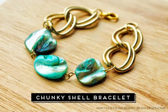Diy: chunky shell stone bracelet