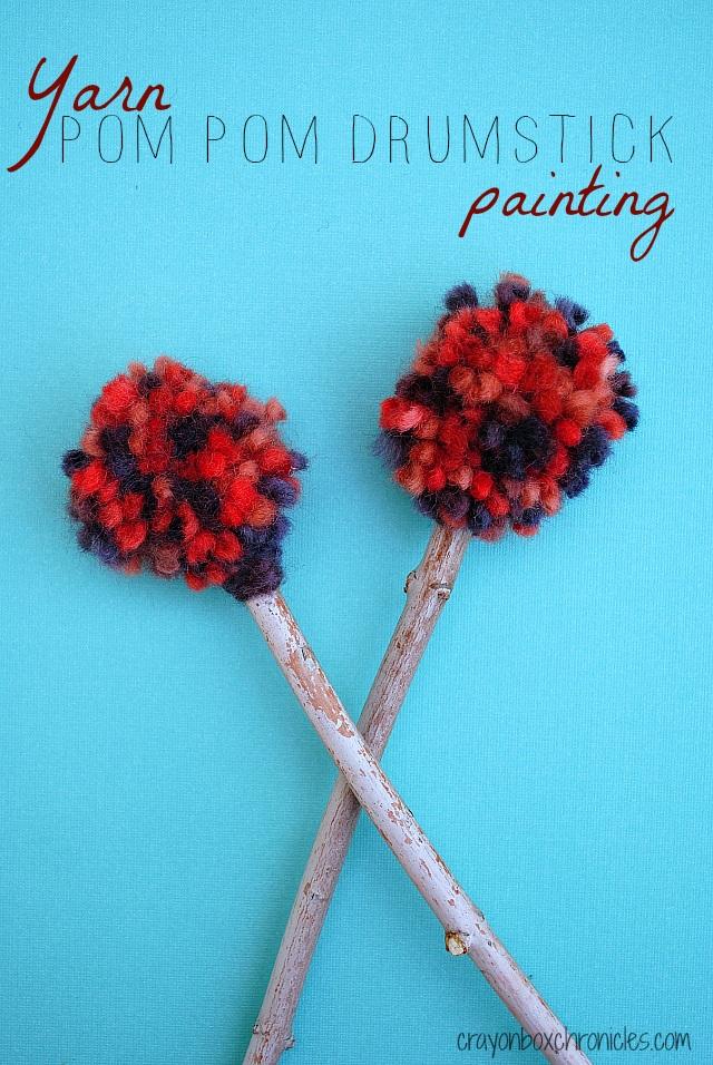 DIY Yarn Pom Pom Drumstick Painting