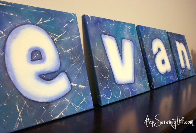 DIY painted letters on canvas