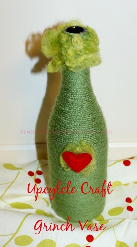 Upcycled Craft Grinch Vase
