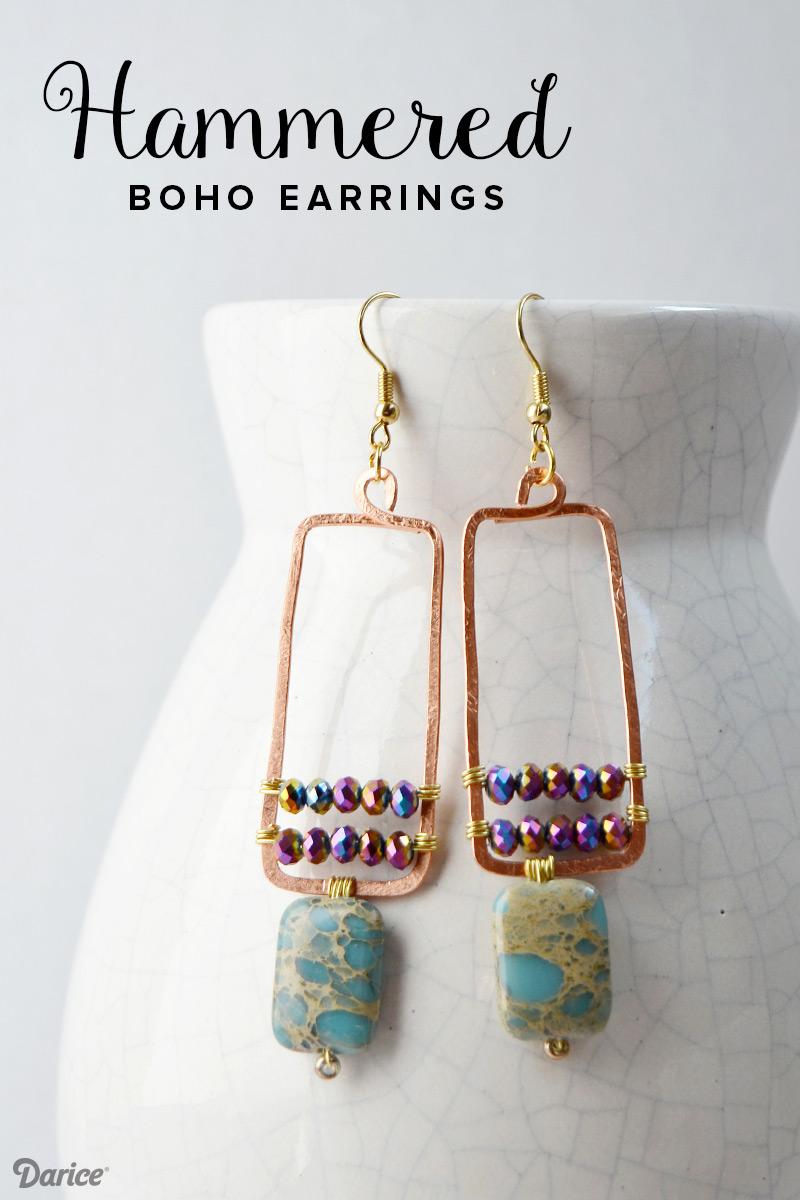 Handmade earrings: boho hammered copper