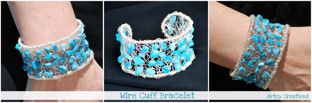 DIY wire wrapped cuff bracelet