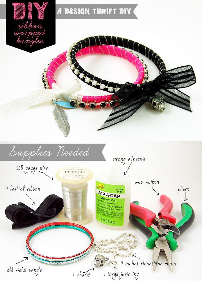 Diy: ribbon  rhinestone wrapped bangles