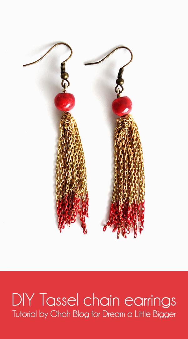 DIY tassel chain earrings