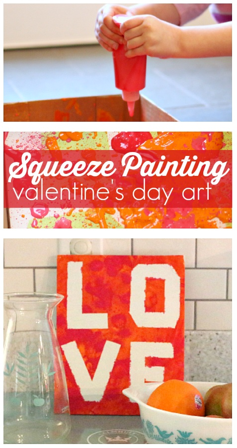 Squeeze Painting Valentine's Day Art Project