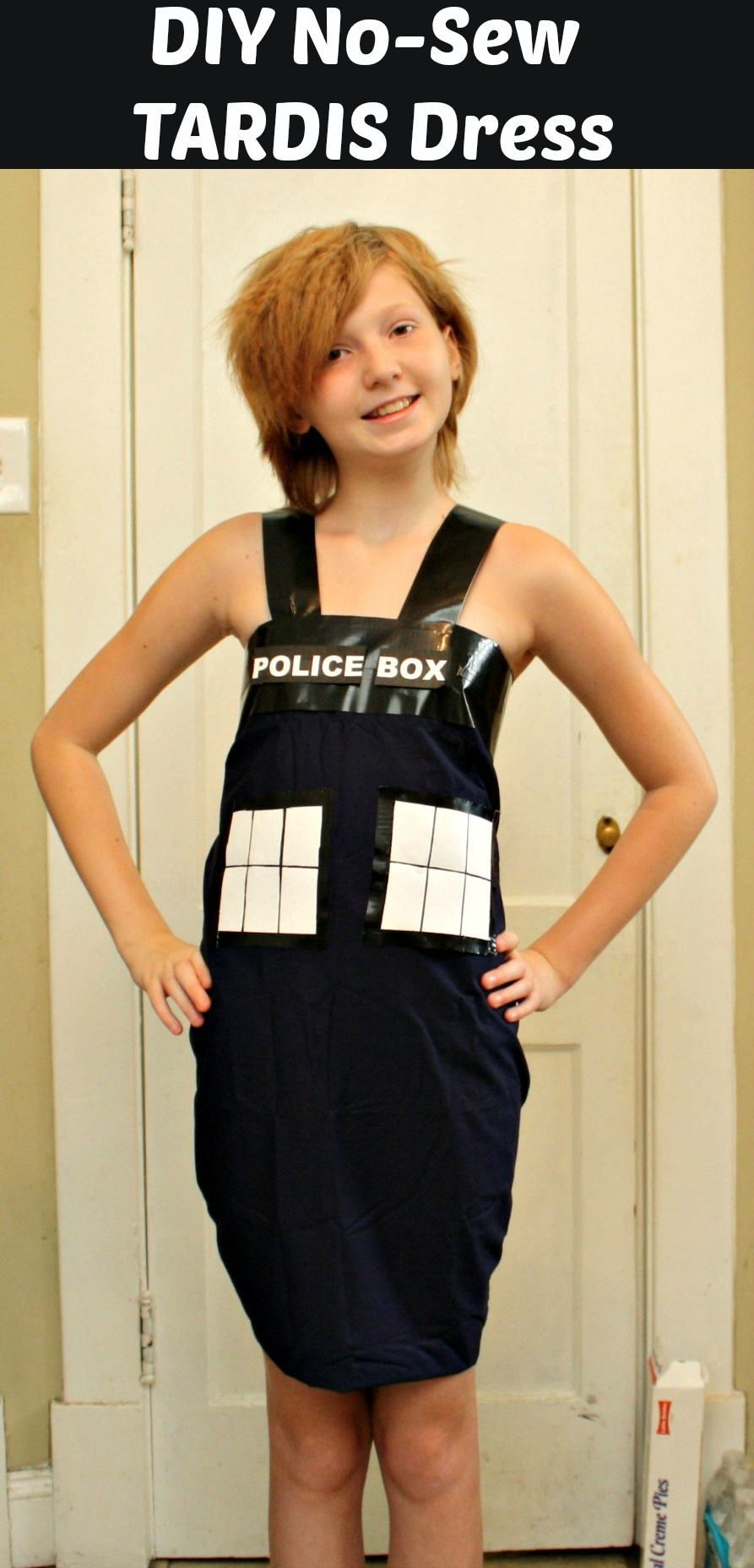 DIY Tardis Costume From Dr. Who (No Sew)