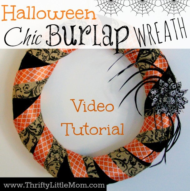 How To Make a Chic Burlap Halloween Wreath ? Thrifty Little Mom