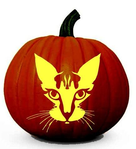 Halloween Cat Face Pumpkin Carving Stencil