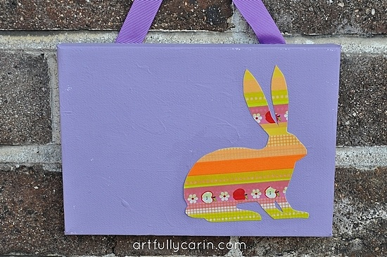 Easter crafts washi tape Easter bunny canvas