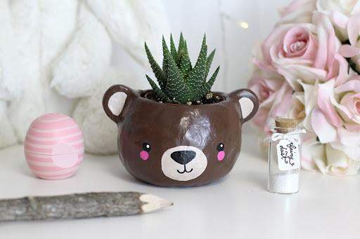 DIY Clay animal head succulent planter