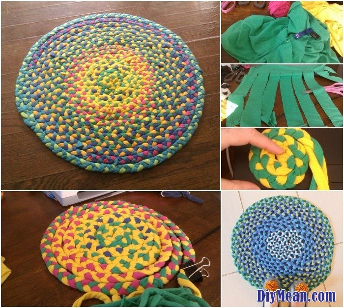Creative Use for Old T Shirts Braid Them Into a Beautifully Bright Rug