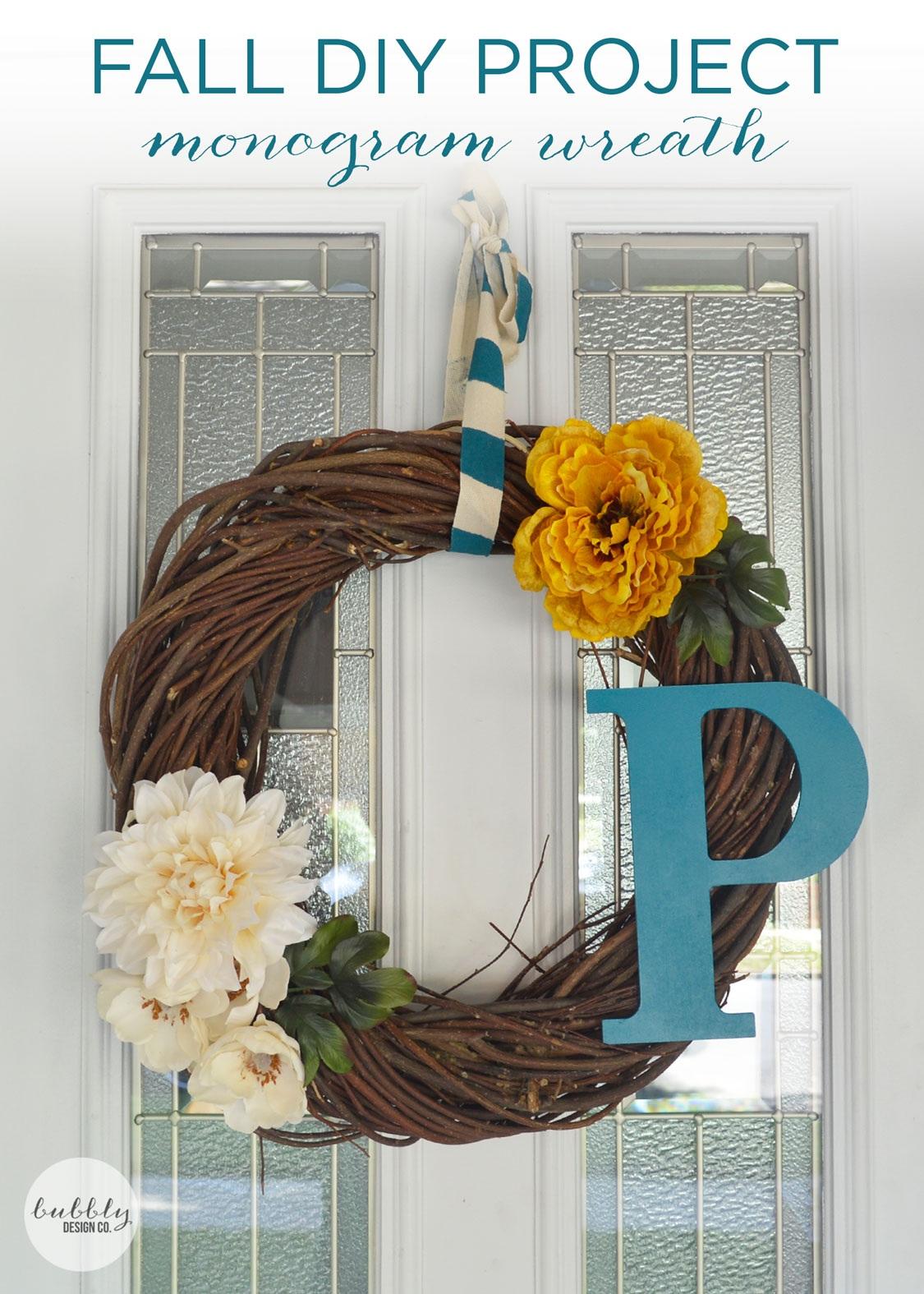 Fall DIY monogram wreath