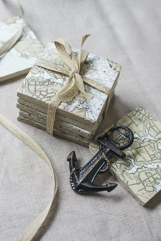 Nautical Chart Coaster DIY