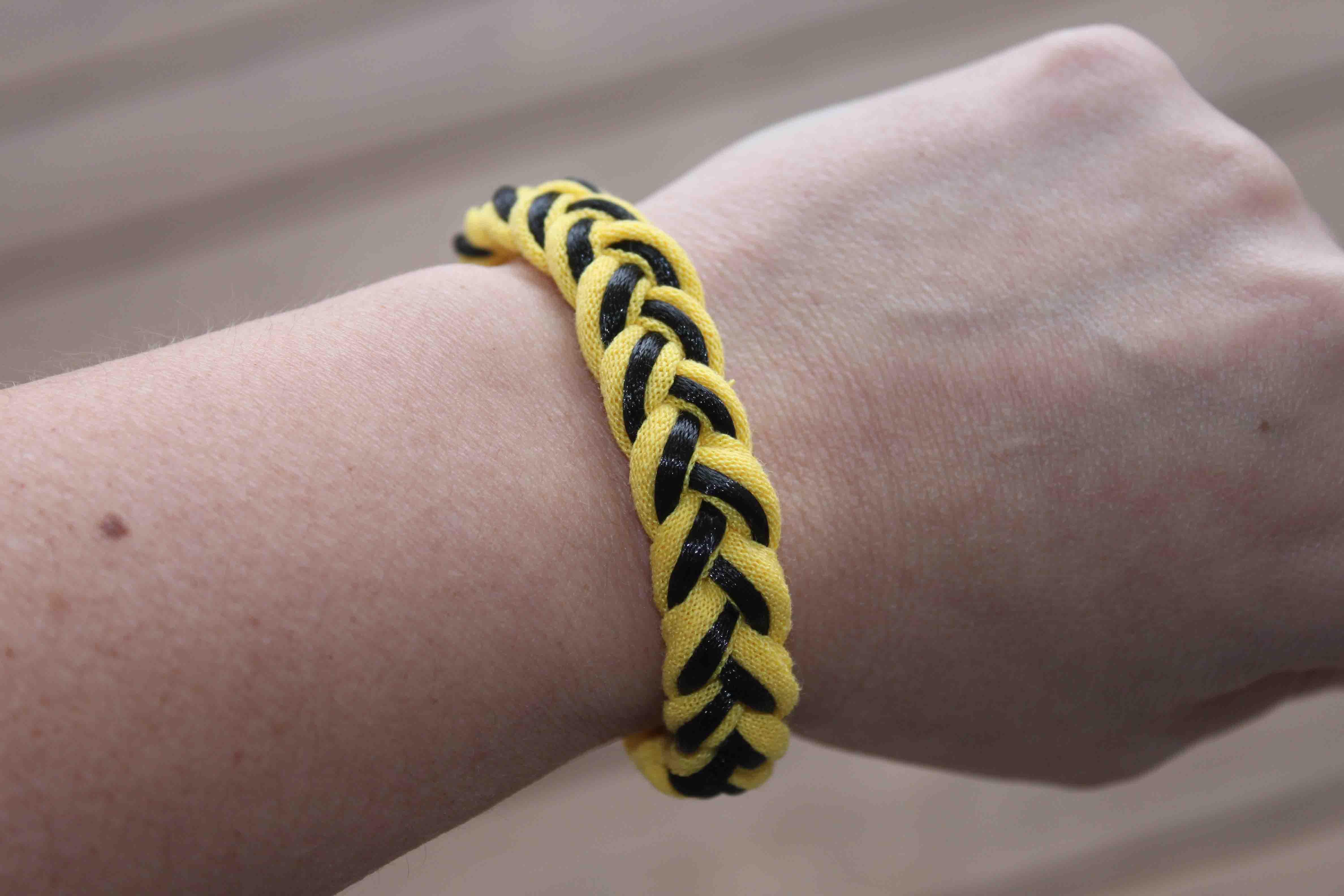 Team colors braided t-shirt bracelet