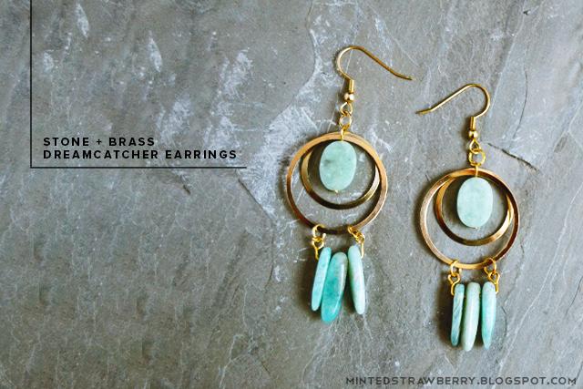 Diy: stone + brass dreamcatcher earrings