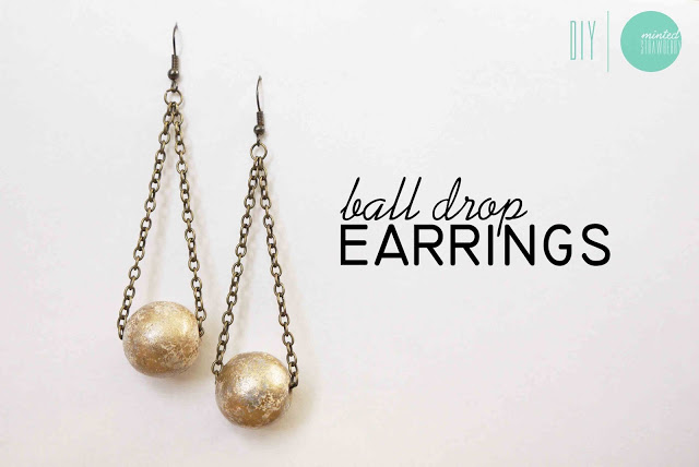 Diy: gilded ball drop earrings
