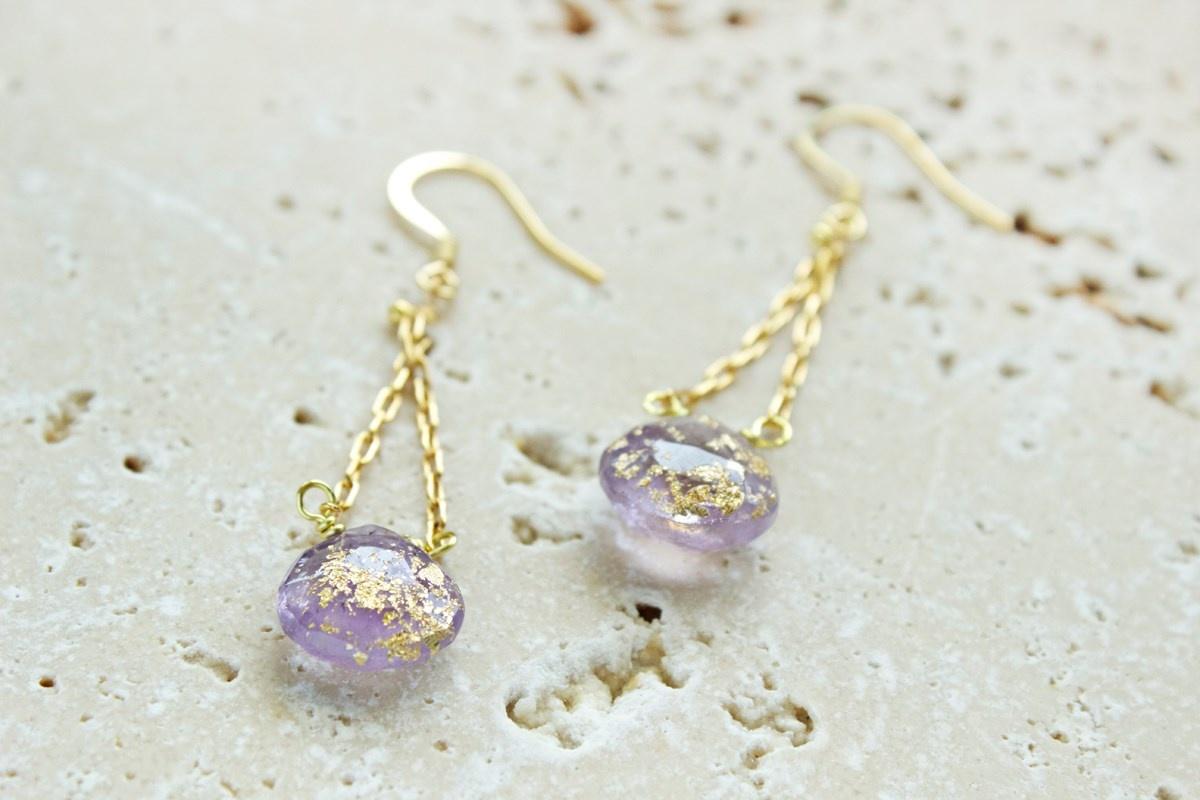 Gilded briolette drop earrings