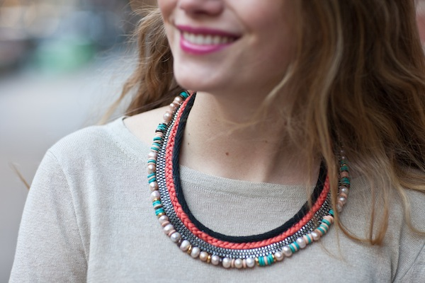 Diy: lizzie fortunato inspired mixed media collar necklace