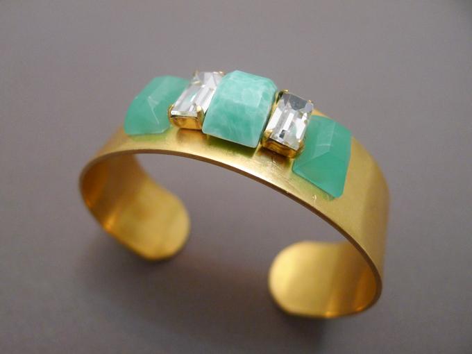 DIY green jeweled cuff