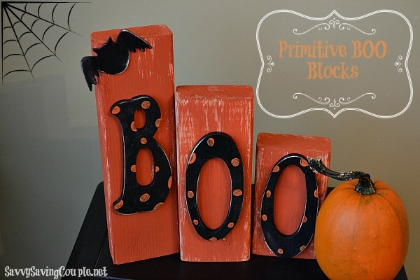 Frugal Halloween DIY Primitive Wooden Boo Blocks