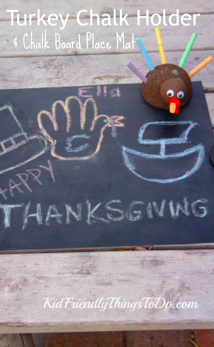 A Turkey Chalk Holder Craft and Chalk Place Mat For Thanksgiving