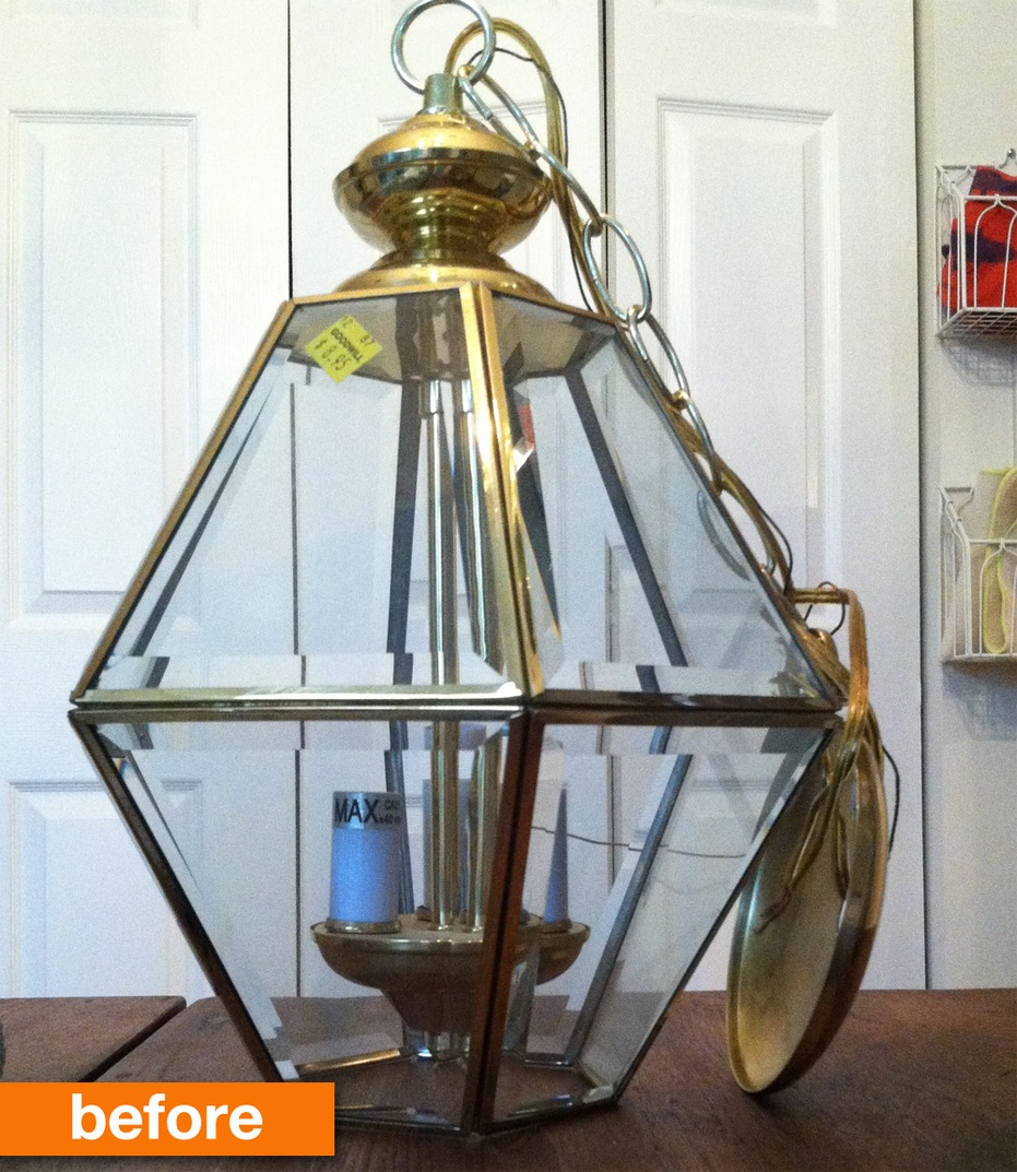 Before & After An Outdated 80s Chandelier Turns into a Trendy, Geometric Lamp