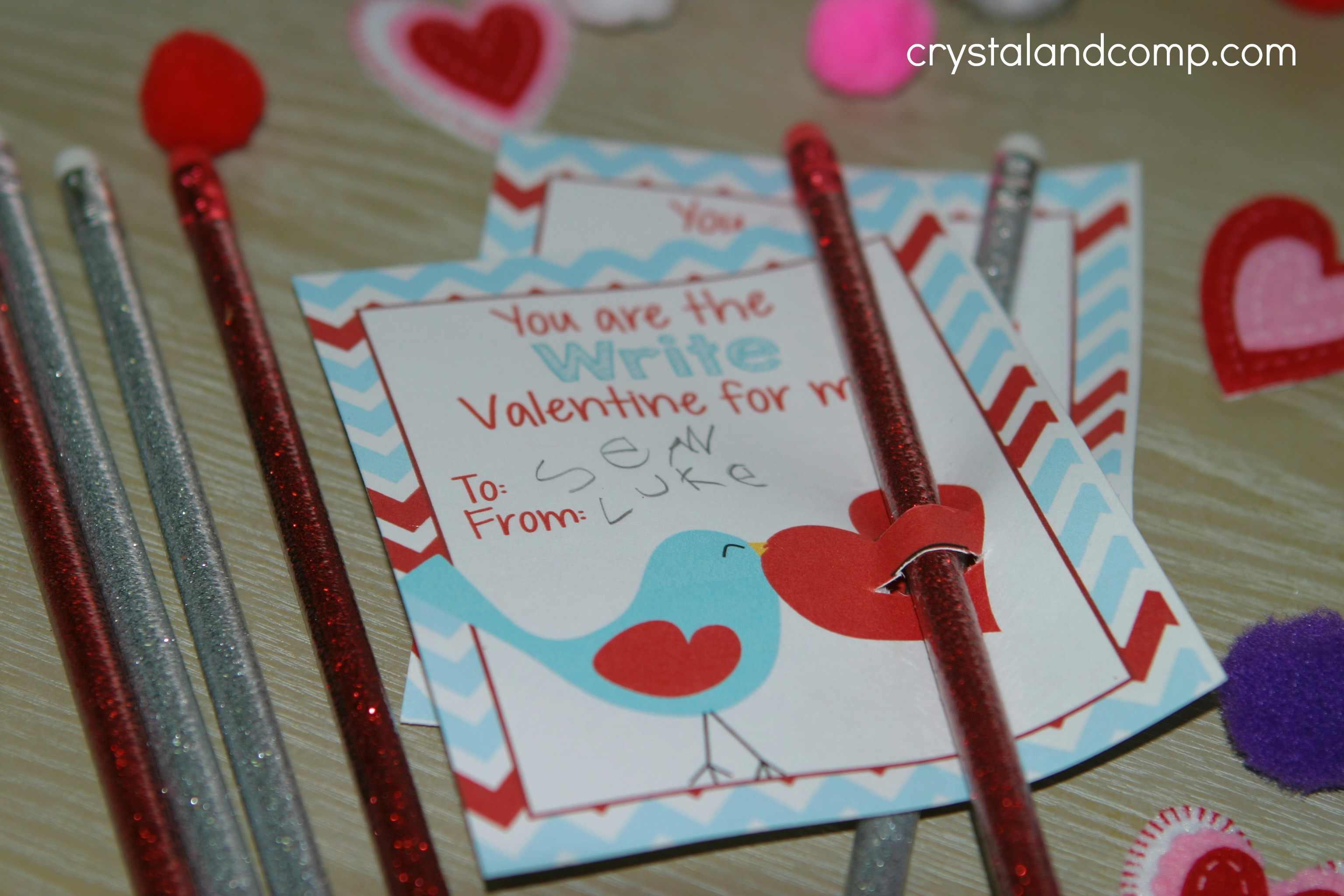 Printable Valentine Pencil Holder
