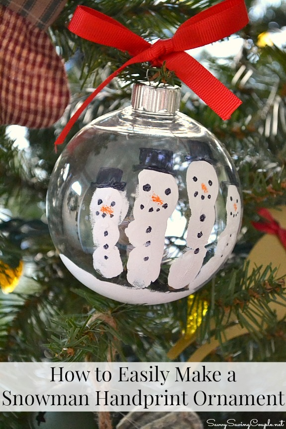 How to Easily Make a Snowman Handprint Ornament