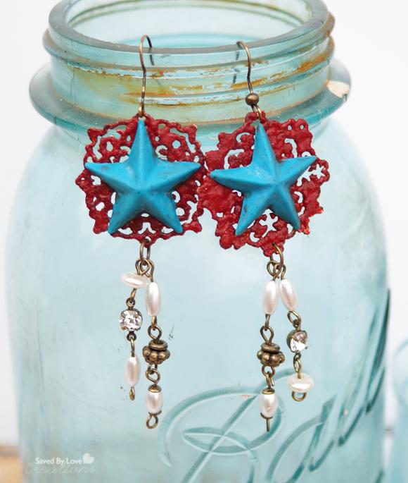 Epoxy clay DIY patriotic filigree earrings