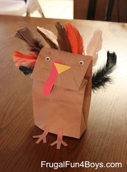 Thanksgiving Craft for Kids Paper Bag Turkey Puppets