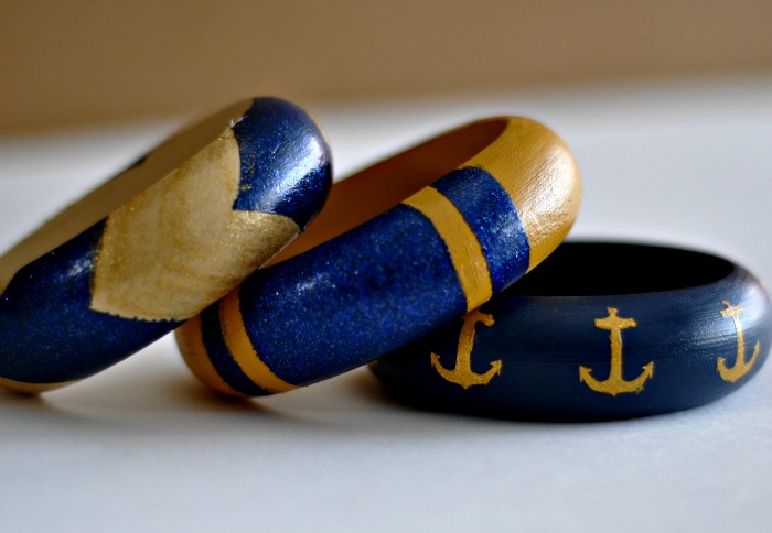 Painted bangles with a nautical twist