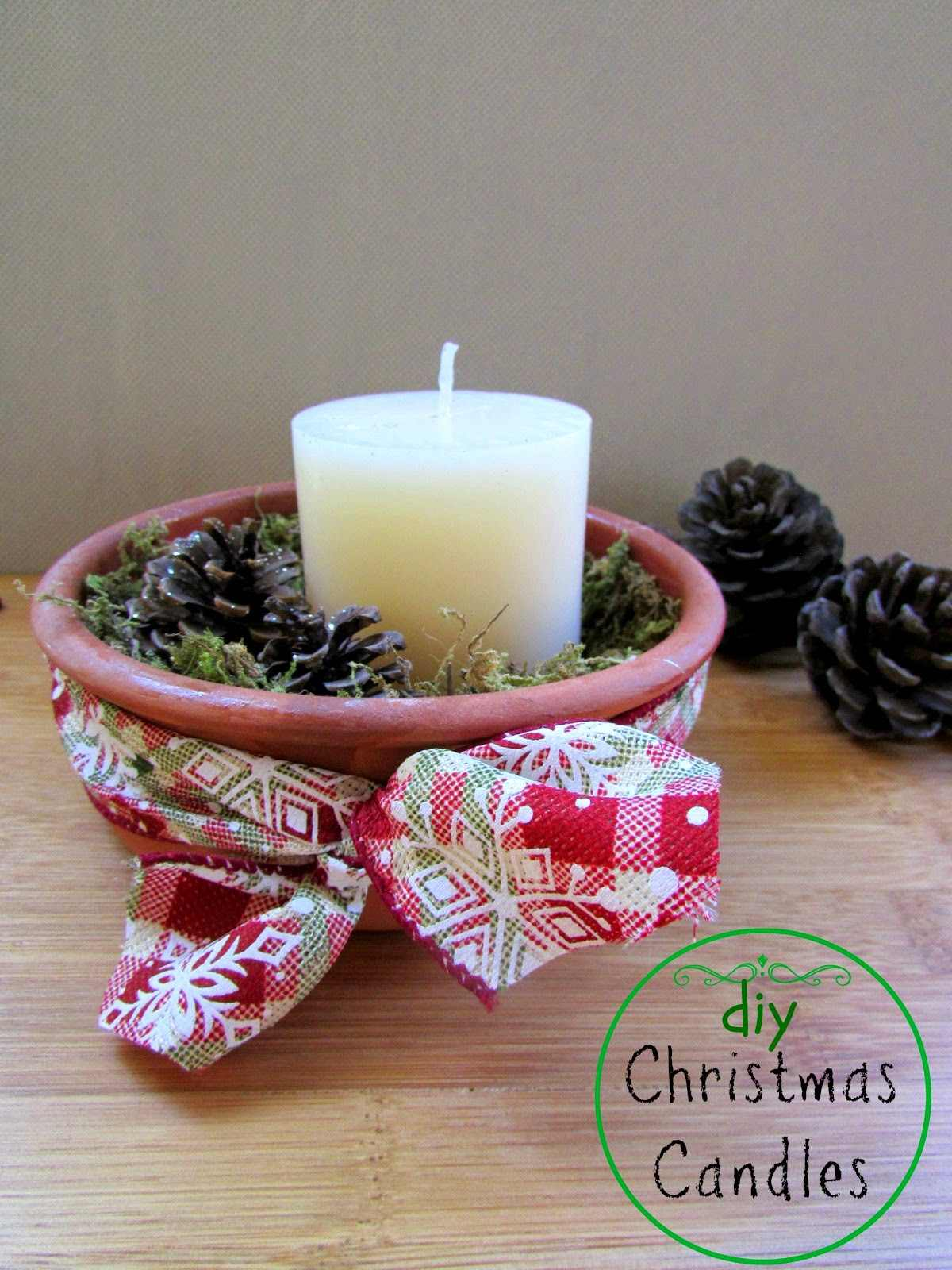 DIY Christmas Woodland Candles