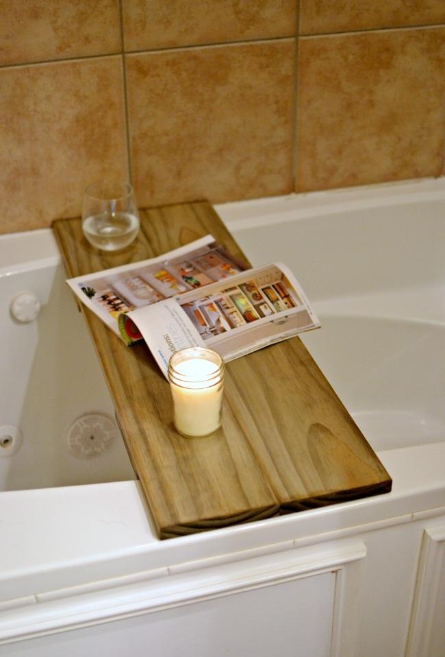 DIY Bathtub Table Shelf