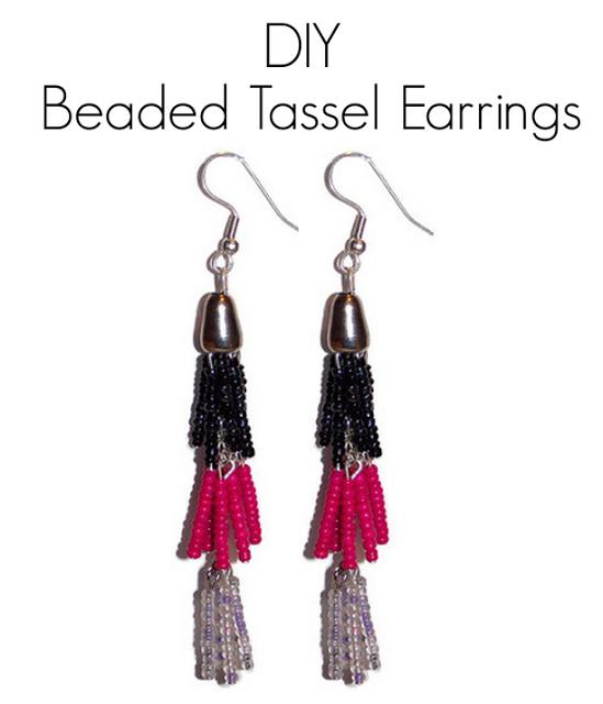 DIY beaded tassel earrings