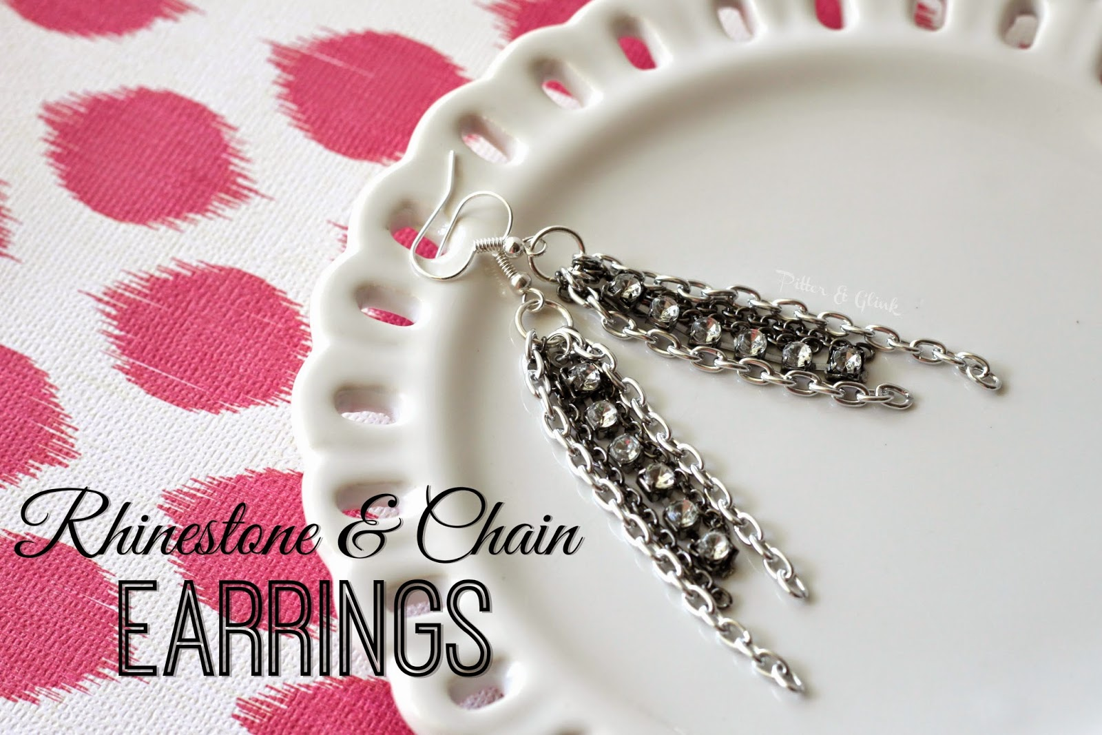 DIY rhinestone & chain earrings