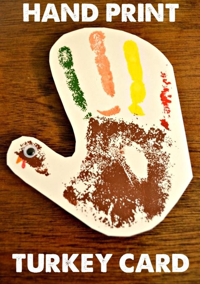 Hand Print Turkey Thanksgiving Card
