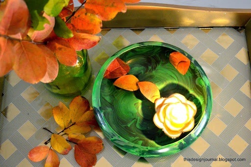 DIY Faux Malachite Bowl for Floating Candles