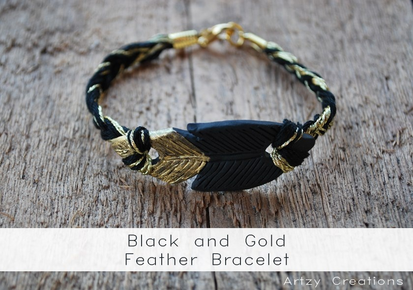 Black and Gold Feather Bracelets