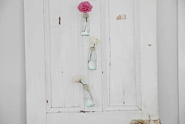 Vintage bottle decorating for a coastal beachy look