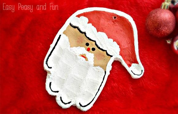 Handprint Santa Salt Dough Ornament