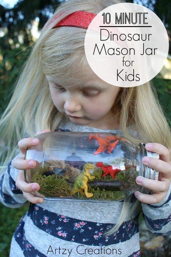 10 Minute Dinosaur Mason Jar For Kids