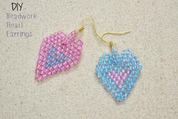 DIY bead work heart earrings
