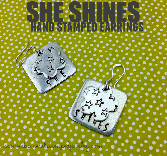 She shines DIY hand stamped earrings