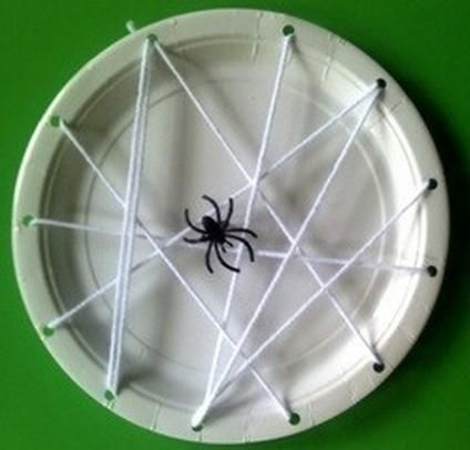 Paper Plate Spider Web Kids Halloween Craft