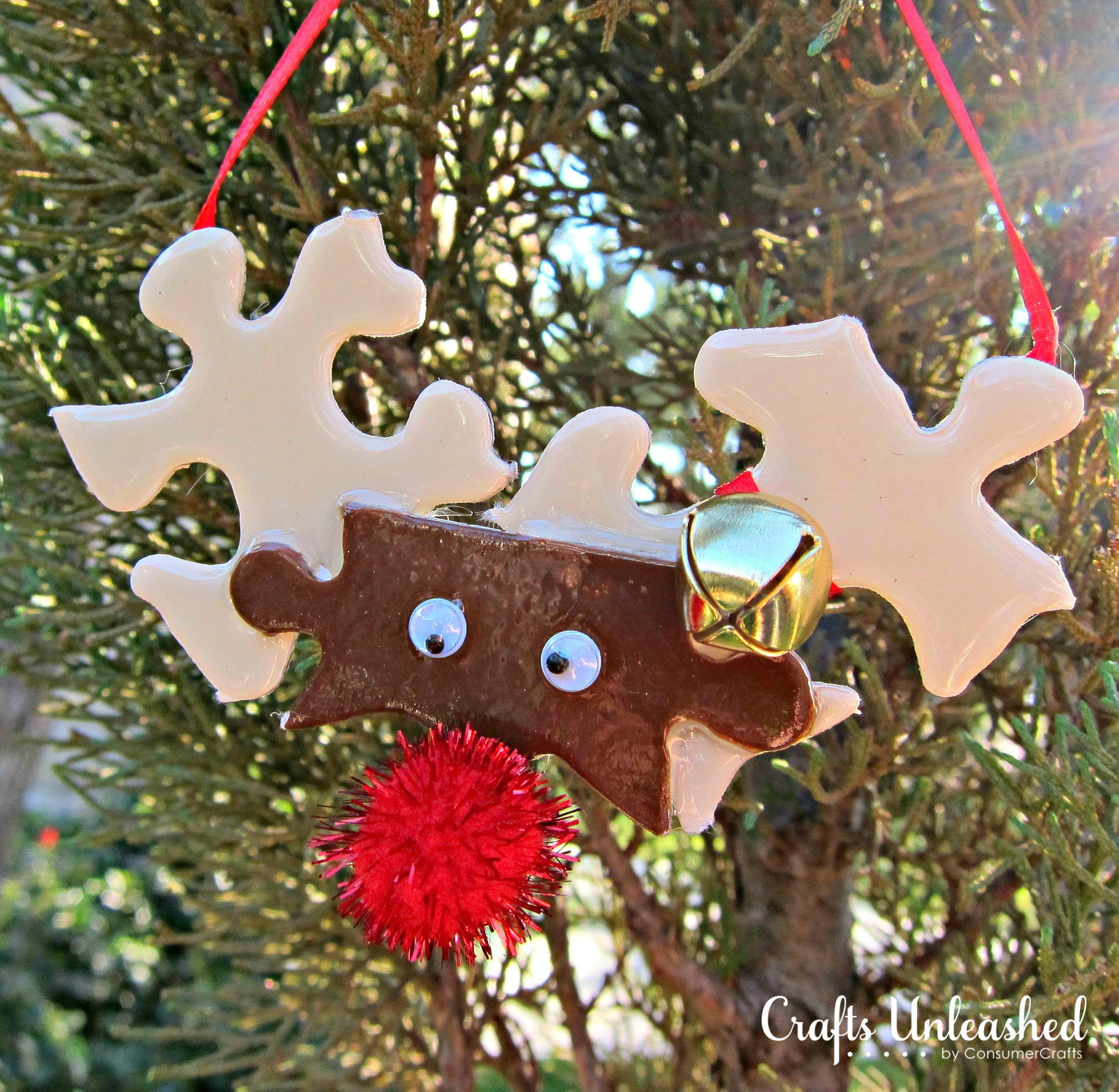 Make Reindeer Ornaments from Puzzle Pieces