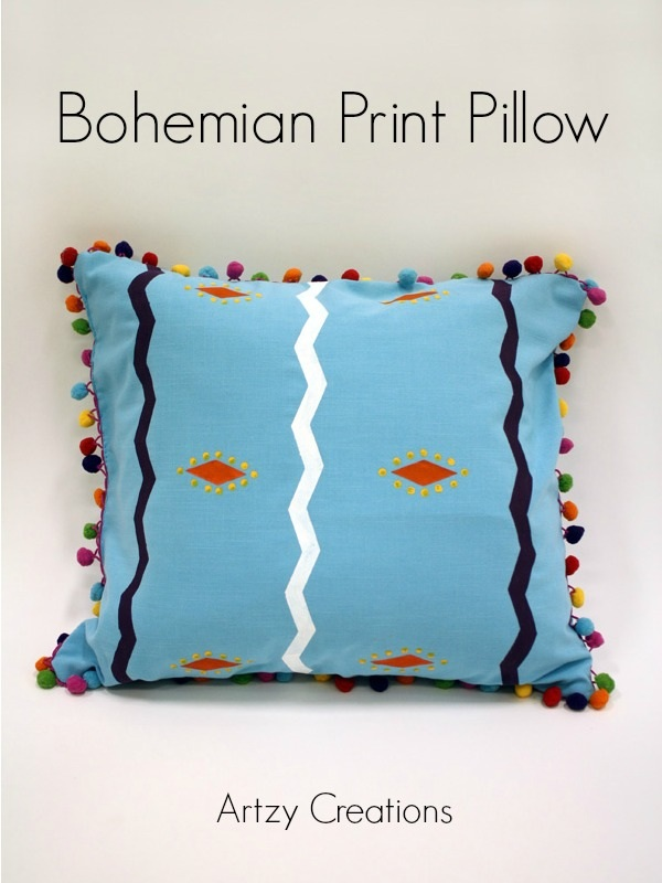 Bohemian Print Pillow with Pom Poms