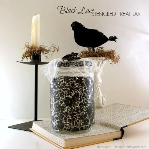 Celebrations Black Lace Stenciled Treat Jar